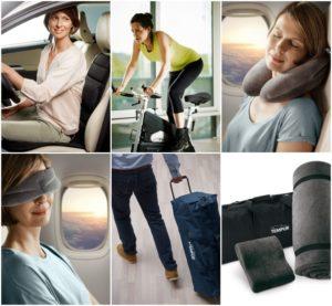 sześć obrazków przedstawiających kobietę w samochodzie, jadąca na rowerze stacjonarnym, w samolocie, śpiącą w samolocie. Mężczyzna ciągnący walizkę, zestaw podróżniczy