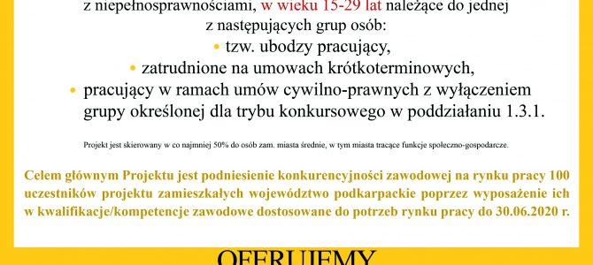 """Projekt: """"Nowe kwalifikacje szansą na awans zawodowy"""" – szkoleniowy"""