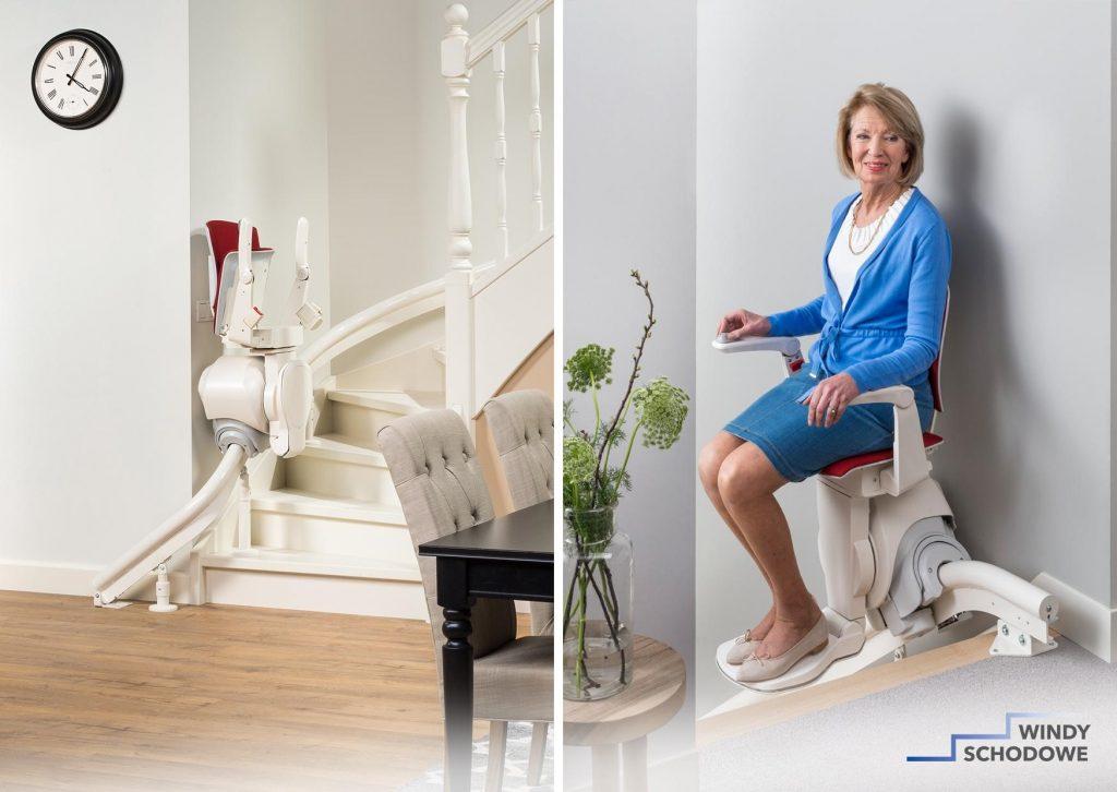 Krzesełko schodowe Modul AIR na torze krzywym