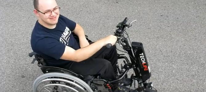 Montaż dostawki elektrycznej do wózka manualnego