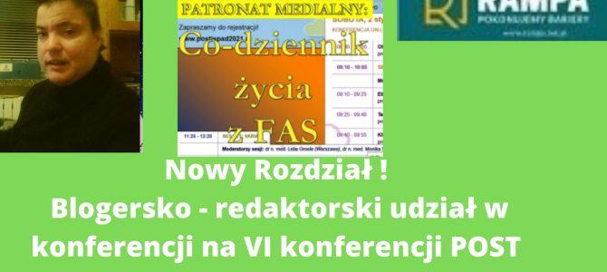 Blogersko – redaktorski udział w VI konferencji POST ISPAD 2021